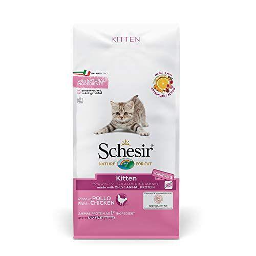 Schesir Cat Kitten Kattenvoer droog hypoallergeen voor jonge katjes met biologische kip / kip, rijk aan eiwitten, verschillende maten (8 x 400 g / 1,5 kg / 10 kg), 10 kg, Bianco E Rosa