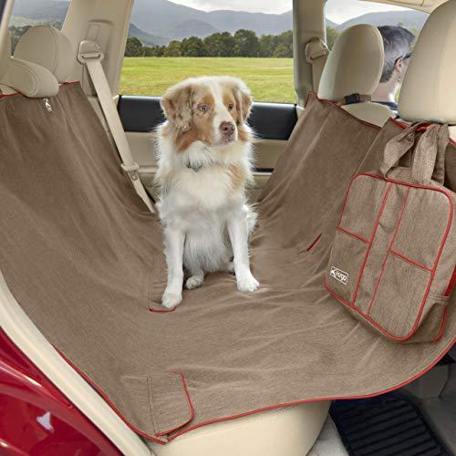 Kurgo Achterbank hangmat voor honden, waterbestendig, autoaccessoire, stoelbescherming, 140 cm breed, model Heather, kleur nootbruin