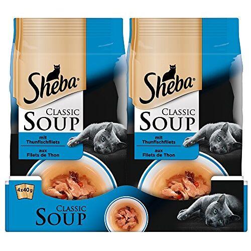 Sheba Classic Soup, Kattenvoeding Als Snack Ter Aanvulling, Voor De Sauzenliefhebber, 48 x 40 g