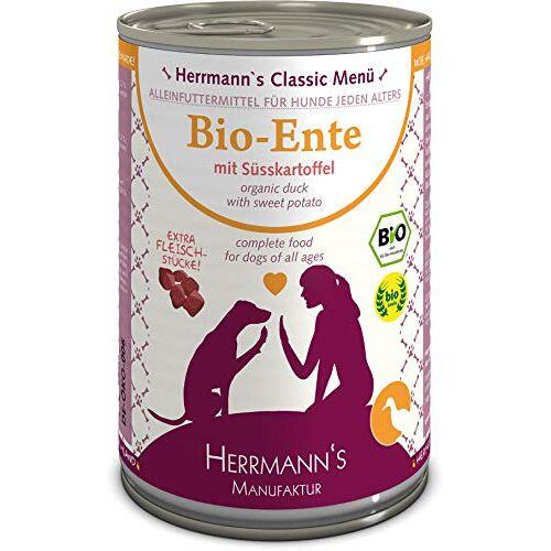 Herrmann's Herrmanns biologische hondenvoer eend Menu 1 met zoete aardappel, pompoen, teunisbloemolie 400 g, 12 stuks (12 x 400 g)