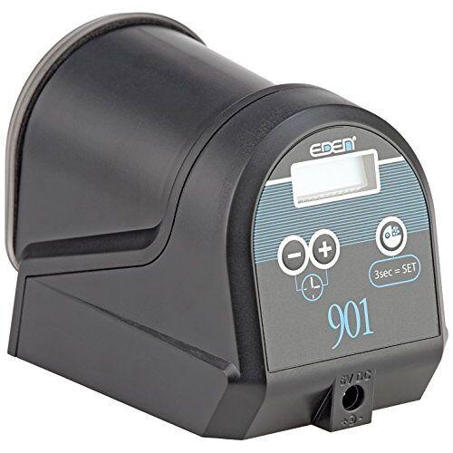 Eden 57434 901 Voederautomaat Geautomatiseerde voederdispenser voor het vo van aquariumvissen in het aquarium met batterijvoeding en dichte voederopslag voor 12 voederuitgaven