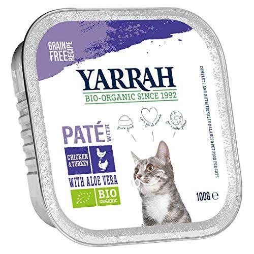 Yarrah Pate Kip kalkoen aloë vera 100g biologisch kattenvoer, verpakking van 16 (16 x 100g)