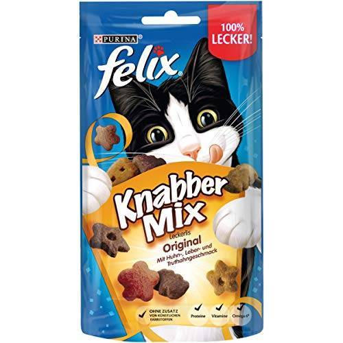 FELIX KnabberMix Original Kattensnacks, Met Eiwitten, Vitaminen & Omega 6, 8 x 60 g