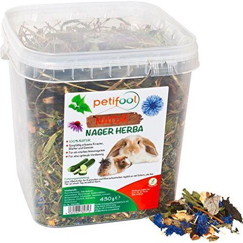 petifool Herba Knaagdiervoer voor knaagdieren, 430 g, compleet voer voor konijnen en cavia's, zonder kunstmatige toevoegingen, 100% natuurlijk, diervriendelijk voer