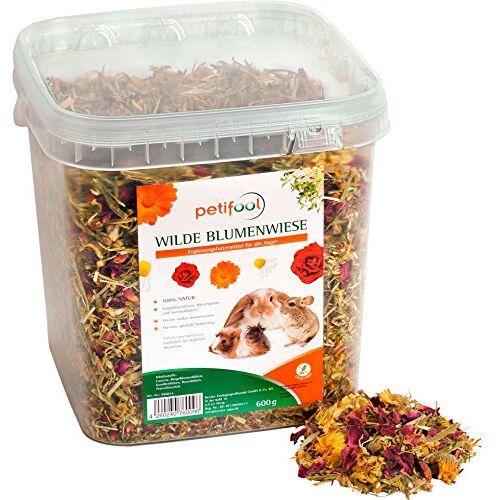 petifool Wilde bloemenweide, 600 g, aanvullende voeding voor knaagdieren, voor konijnen, cavia's, hamsters, chinchilla en meer, zonder kunstmatige toevoegingen, 100% natuurlijk, geschikt voer