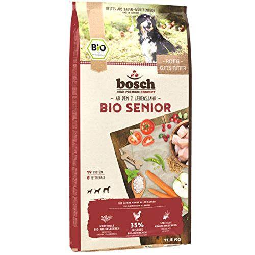 Bosch HPC BIO   Senior Kip & Veenbes   Hondenvoer voor oudere honden van alle rassen   100 % landbouwgrondstoffen van bewezen biologische landbouw   1 x 1 kg