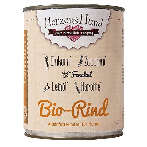 Herzens-Hund HerzensHund Biologisch rundvlees met biologische inkoren, biologische courgette, biologische wortel, biologische venkel, biologische lijnolie, 6 x 800 g