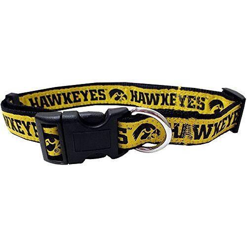 Pets First NCAA Huisdierhalsband 50 Colleges verkrijgbaar in 3 maten robuust, sterk, duurzaam en verstelbaar NCAA hondenhalsband onmisbaar voor de 4-potige sportfan, Universiteit van Iowa Hawkeyes, Small