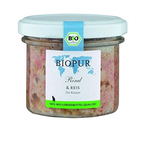 BIOPUR Rundvlees, rijst 100 g biologisch kattenvoer in glas, verpakking van 12 (12 x 100 g)