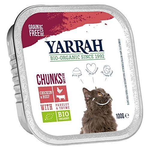 Yarrah Brokjes rundvlees 100 g biologisch kattenvoer, verpakking van 16 (16 x 0,1 kg)
