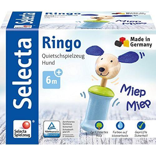 Selecta 61056 Ringo hond, grijper met piep, 12 cm