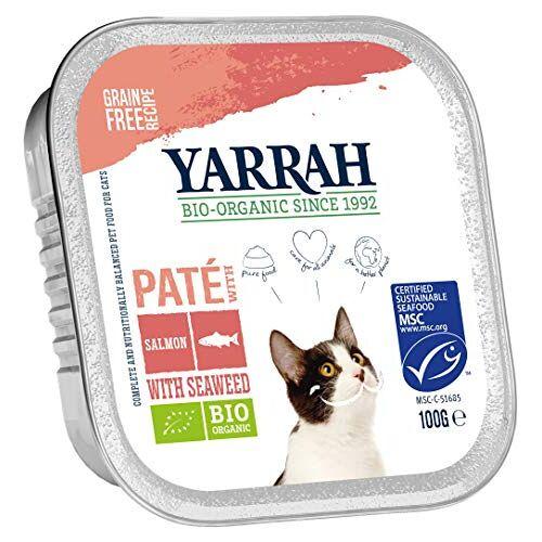 Yarrah Pate Zalmsaumon met Seaweed 100 g biologisch kattenvoer, verpakking van 16 (16 x 0,1 kg)