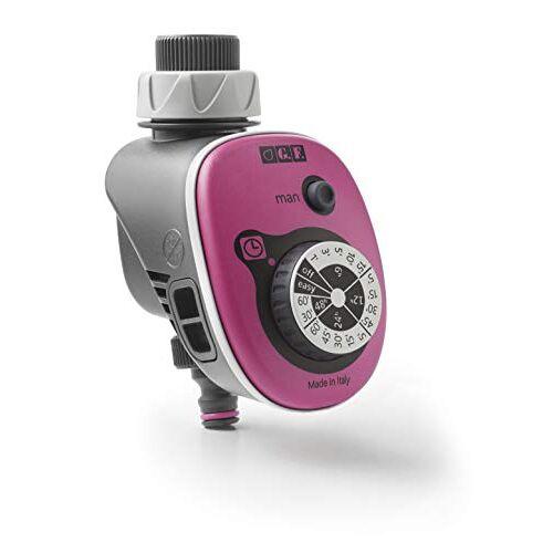 GF GARDEN , Elektronische computer GF16 voor automatische tuinirrigatie, met 16 instelbare programma's, kleur roze