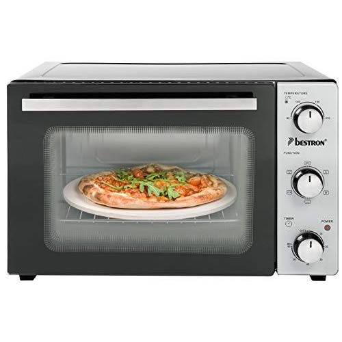 Bestron Grill Bakoven met draaispit en pizzasteen, mini-oven met 31 L, 1500W, rvs / zwart