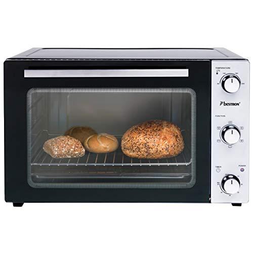 Bestron Grill Bakoven met draaispit, mini-oven met 45 L, 1800W, rvs / zwart