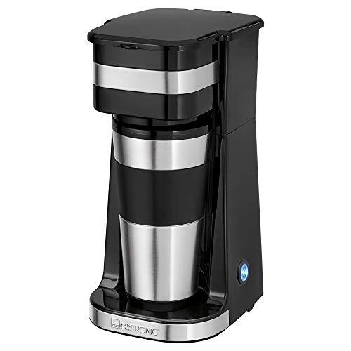 Clatronic Koffiezetapparaat met 1 kopje KA 3733, incl. dubbelwandige thermoroestvrijstalen beker, aroma-afsluitdeksel met drinkopening, 400 ml inhoud, geschikt voor alle gangbare bekerhouders