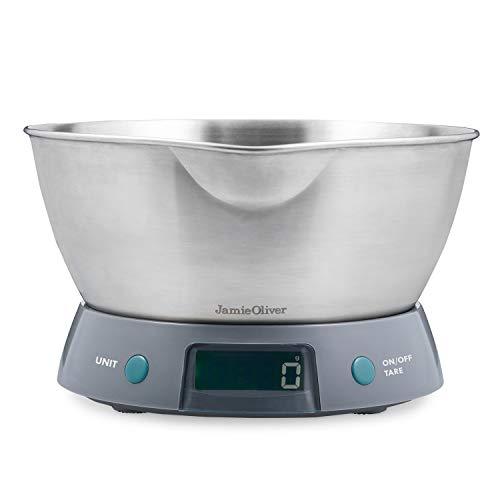 Jamie Oliver Digitale Keukenweegschaal met Roestvrijstalen Kom, 5 kg, Grijs