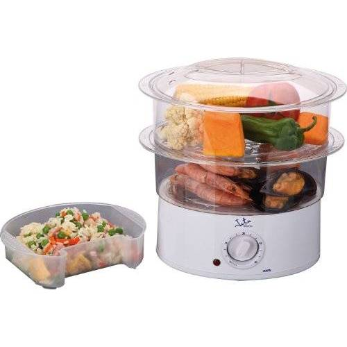Jata Stoompan voor keuken met 2 manden, inhoud 3,5 l, tank 500 ml, incl. houder voor rijst of sauzen