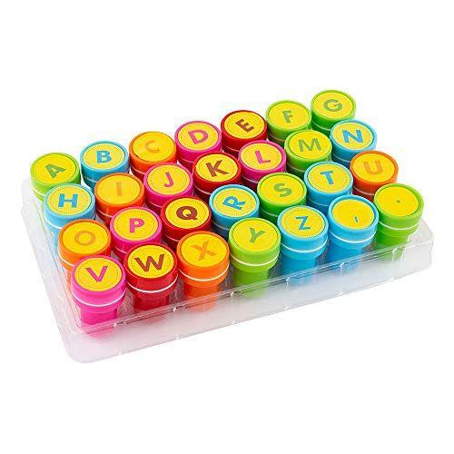 S'cool Zelfkleurende stempel, kinderstempel, speelgoedstempel, stempelset, leerhulpstempel met letterverpakking, 28 stuks