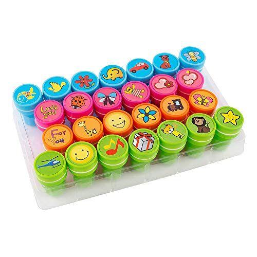 S'cool EMOJI Zelfkleurende stempel, kinderstempel, speelgoedstempel, stempelset, decoratieve stempel, 26-delige set