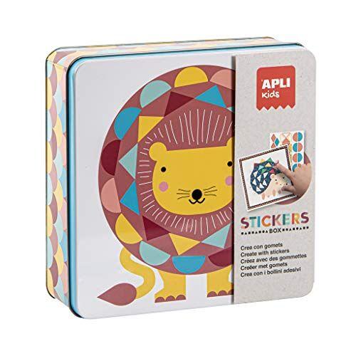 APLI 14590 dieren leeuw sticker spel in blikken doos