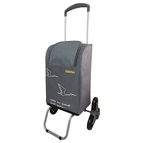 Bo Time boodschappentrolley met 2 of 6 wielen, 40 l/30 kg, met telescopische handgreep en ritssluiting (6 wielen) – Aantal wielen: 6 wielen (trap).