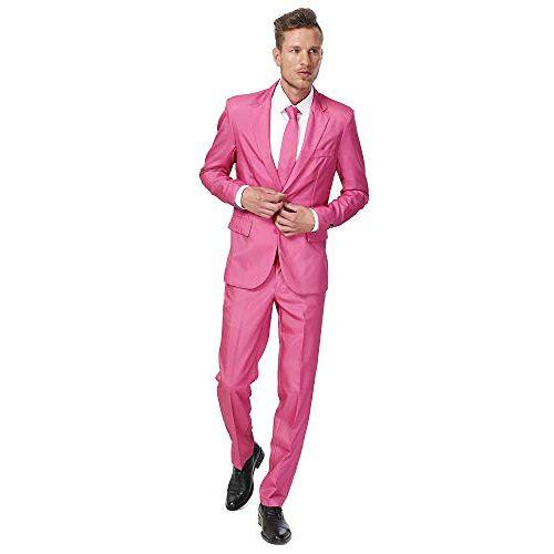 OBAS-0006 Suitmeister Solid Gekleurde Pakken Roze Inclusief Jasje, Broek & Stropdas M