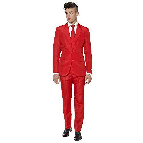 OBAS-0017 Suitmeister Solid Gekleurde Pakken Rood Inclusief Jasje, Broek & Stropdas L