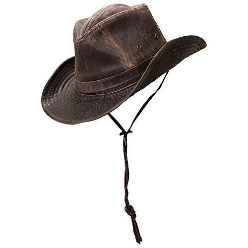 MC127-BRN5 Dorfman Pacific Katoenen Outback hoed voor heren met kinkoord, BRON, XXL