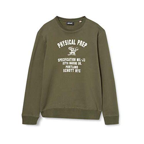 SWPHYSICAL Schott NYC Swfysical sweatshirt voor heren, kaki, M
