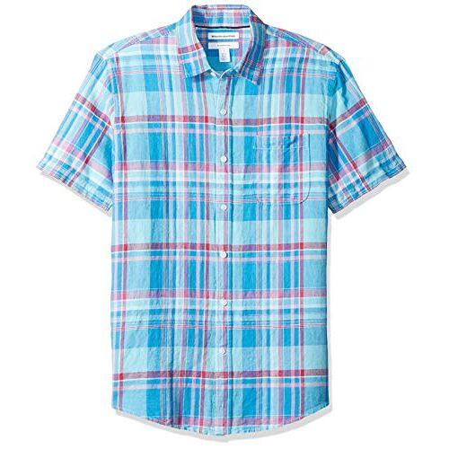 AE1816838-aqp-X-Small Amazon Essentials Heren Slim-fit Short-Sleeve Gingham Linnen Shirt,Aqua Plaid,XS