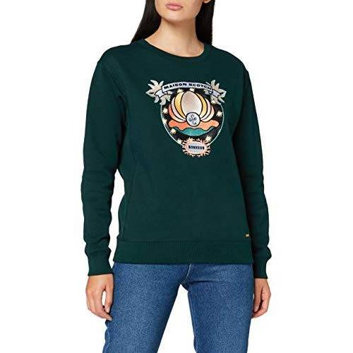 157041 Scotch & Soda Maison Sweatshirt voor dames met ronde hals en diverse kunstwerken