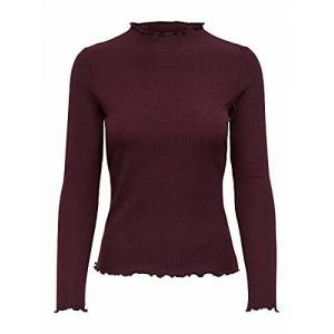 15180040 ONLY Dames Onlemma L/S High Neck Top Noos JRS T-shirt, Madder Brown, S