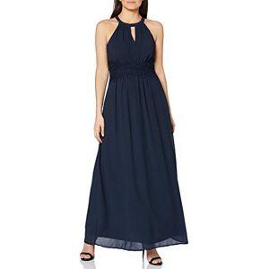 14052647-Total Eclipse Vila Vrouwelijke maxi-jurk met plooien, halternek, blauw (total eclipse), 34
