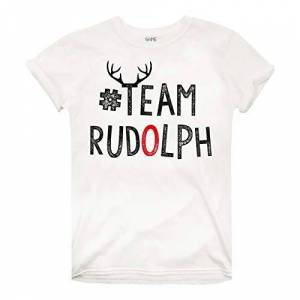 RELTS056-WHT GAME ON Dames Team Rudolph T-Shirt