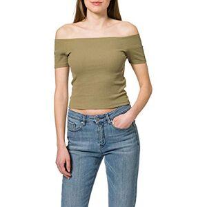 TB1500 Urban Classics Dames T-shirt Dames Off Shoulder Rib Tee, bovenstuk voor vrouwen met korte snit en vrije schouders in vele kleuren, maten XS 5XL, kaki, M