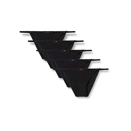 BELK498M5_Black Iris & Lilly Dames katoenen bikinislip 5 stuks, zwart (zwart), M, Label:M