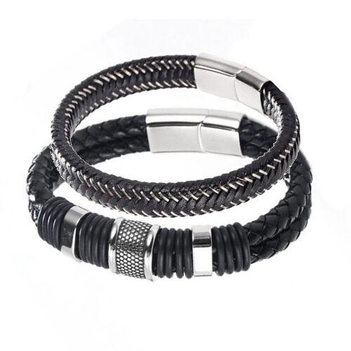 woodzstyle Geschenkset armbanden boli   2 leren armbanden   21 cm