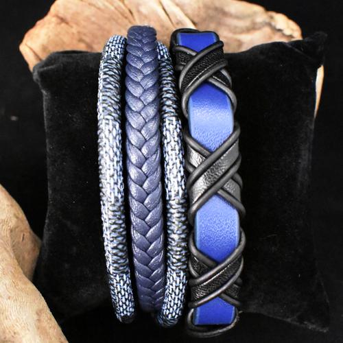 Woodzstyle Giftbox armbanden blue   2 blauw leren armbanden   21 cm
