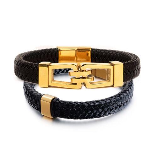 Woodzstyle Giftbox armbanden gold   2 leren armbanden   gold elements   21 cm