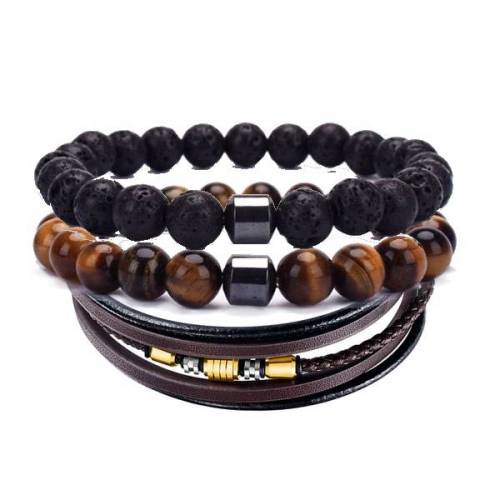 woodzstyle Armbanden set   1 leren armband   2 kralen armbanden