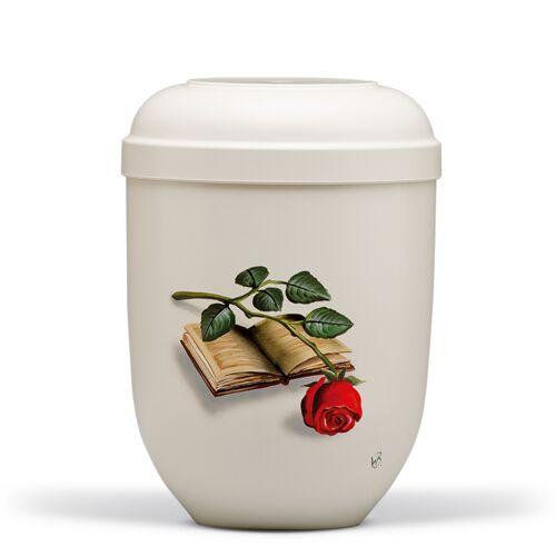 Urn met de hand geschilderd: Boek met roos