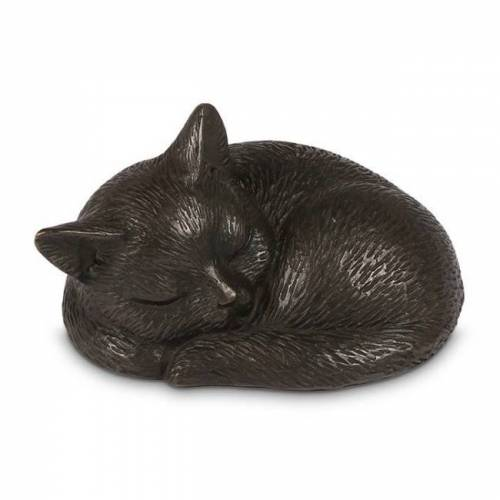 Mini urn in Brons: Slapende Poes (250ml)