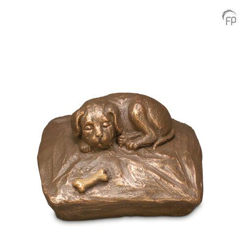 Dieren-urn van keramiek: Slapende Hond met bot (700ml)