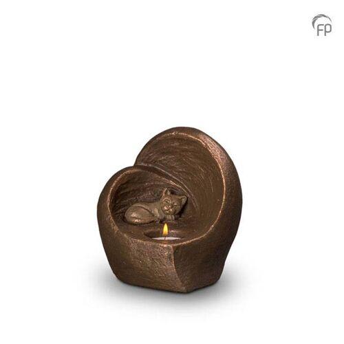 Dieren-urn van keramiek: Slapende Poes met waxine (500ml)