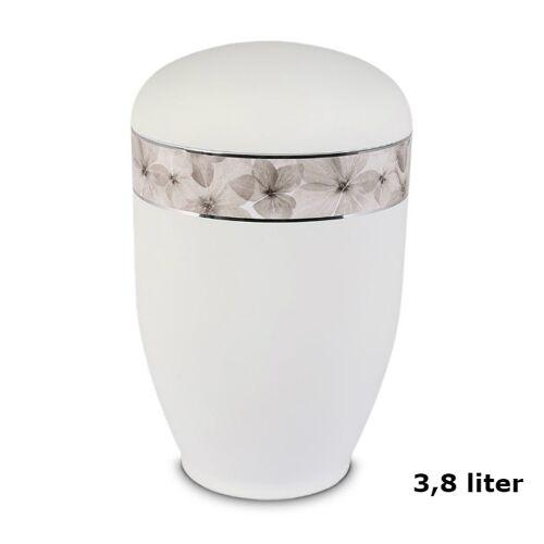 Urn in Mat-Wit edelstaal met Bloemen decorlint (3800ml)