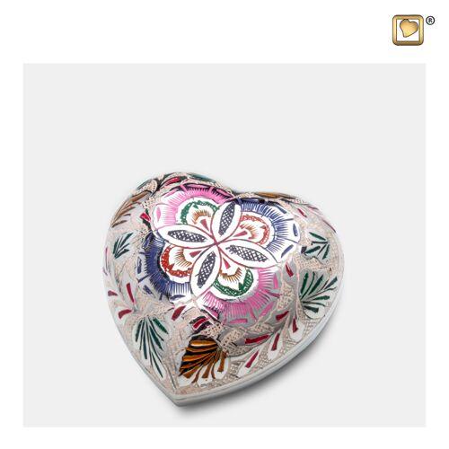 Hart mini urn met bloemen