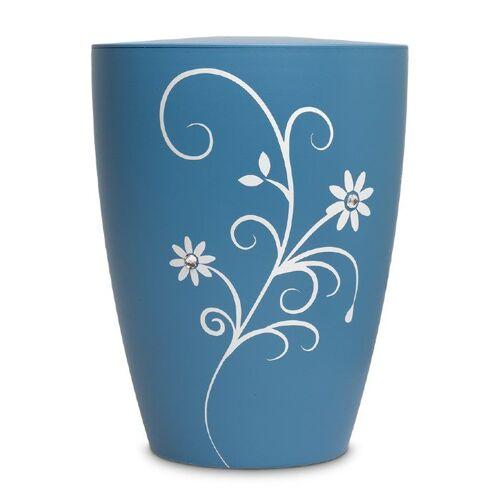 Urn in blauw met bloemenrank (3600ml)