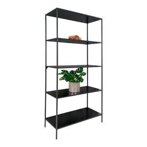 """House Nordic Industriële open kast met zwart frame en 5 zwarte planken """"Vita"""" - L36xB80xH170 CM"""