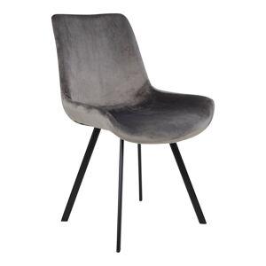 House Nordic Moderne fluwelen grijze eetkamerstoel ''Drammen'' - zithoogte 46cm
